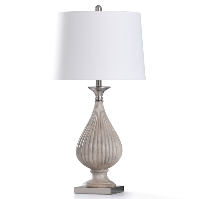 Aged Ivory Stone Colored Base With Brushed Nickel Metal Table Lamp