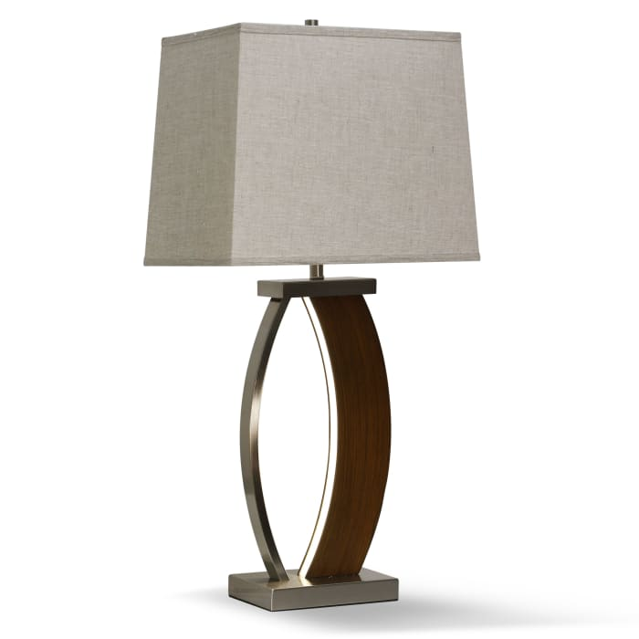Brown Wood and Brushed Steel Metal Table Lamp