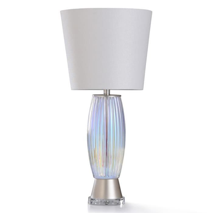 Clear Acrylic With Opulent Pearl Plated Ribbed Glass and Brushed Nickel Metal Table Lamp