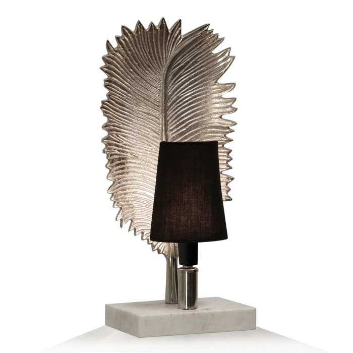 Marble Brushed Nickel Metal With Natural Marble Base Table Lamp