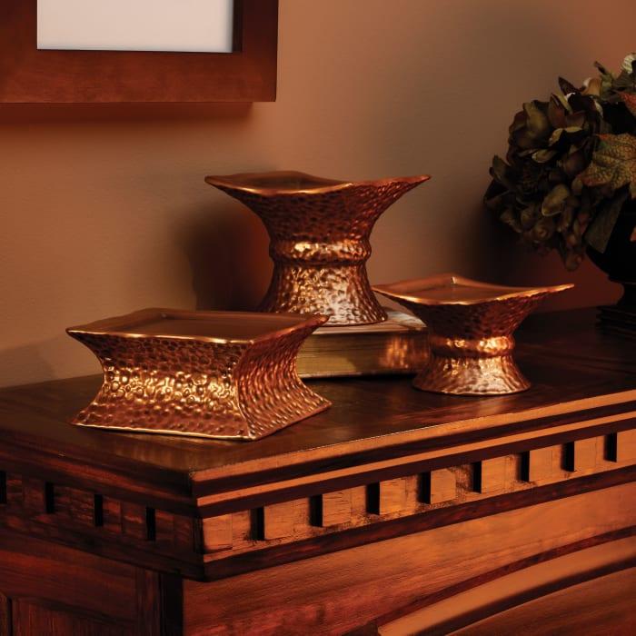 Cyl Hammered Copper Pedestal - H