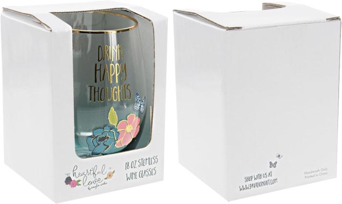 Happy - Stemless Wine Glass