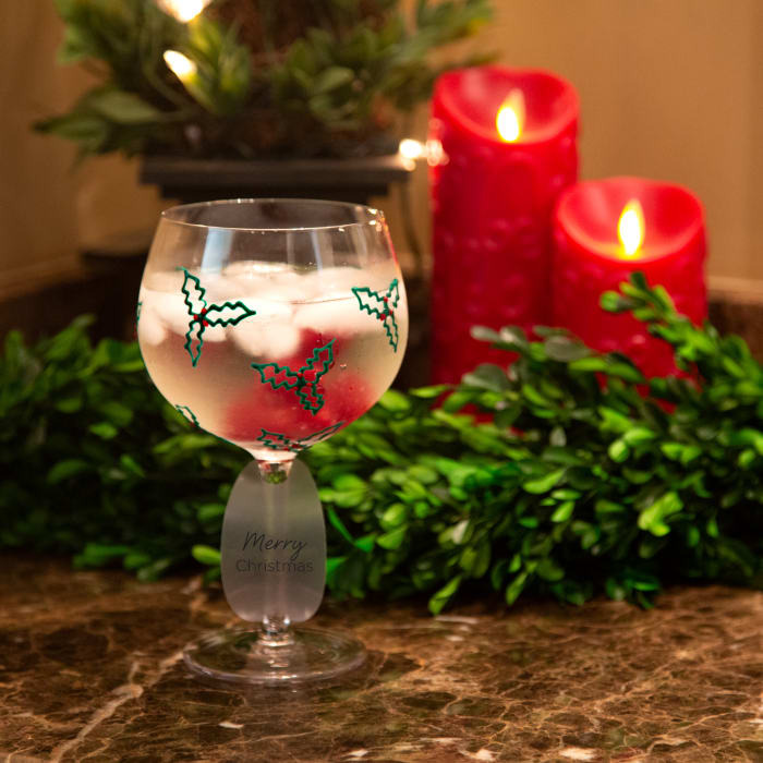 Holly & Berries - Hand Decorated Glass