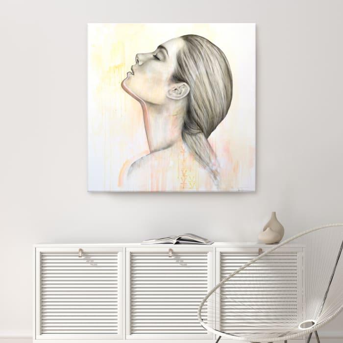Surrender I Gray Figurative Canvas Wall Art