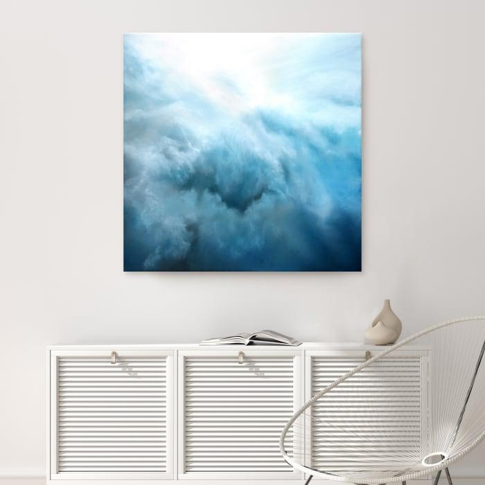 Underwater Clouds IV Blue Modern Coastal Canvas Wall Art