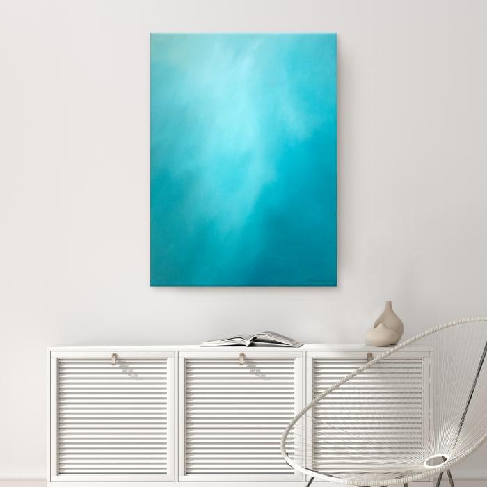 Underwater Clouds X Teal Modern Coastal Canvas Wall Art