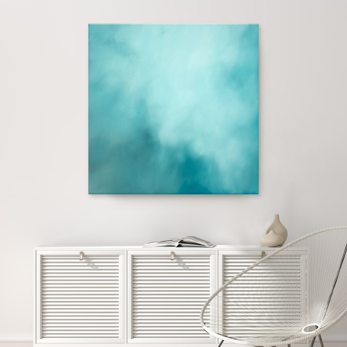 Underwater Clouds XVI Teal Modern Coastal Canvas Wall Art