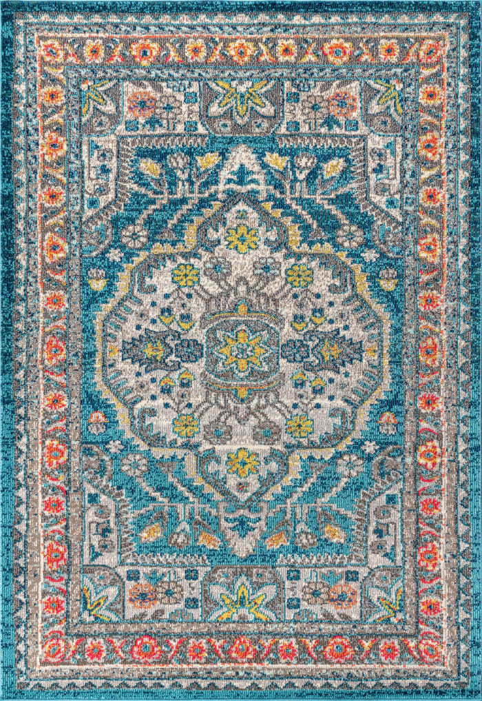 Bohemian FLAIR Boho Vintage Medallion Blue/Yellow 3' x 5' Area Rug