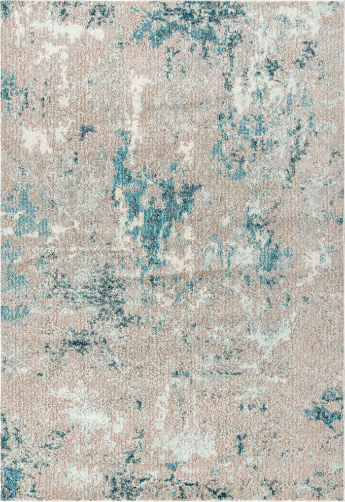 Contemporary Modern Abstract Vintage Faded Gray and Blue  5.25' x 7.5' Area Rug