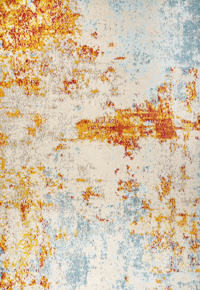 Sunset Modern Abstract Orange and Multicolor  5.25' x 7.5' Area Rug