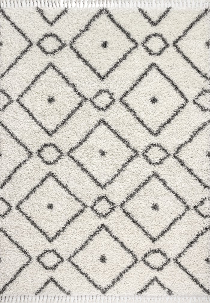 Shag Plush Tassel Moroccan Diamond Cream/Grey 3' x 5' Area Rug