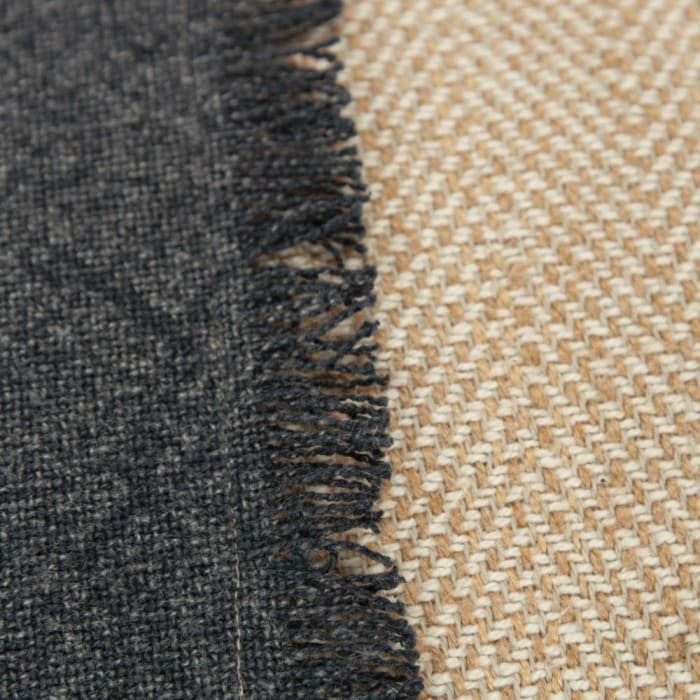 Burlap Color Block Charcoal and Tan Filled Pillow
