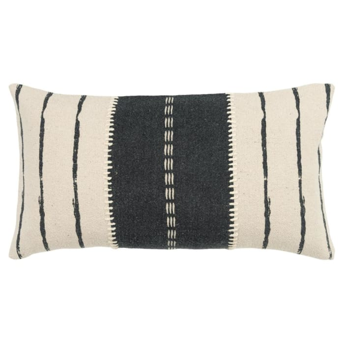 Canvas Stripe Charcoal and Ivory Filled Pillow