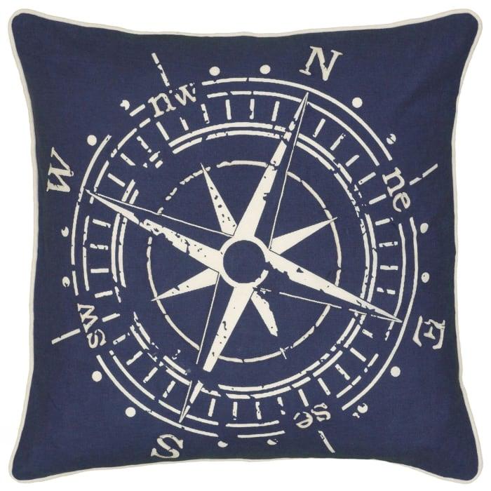 Compass Design Blue Pillow Cover