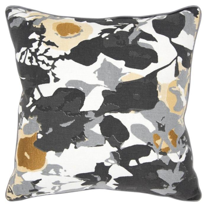 Floral Connie Post Burlap Black/White Pillow