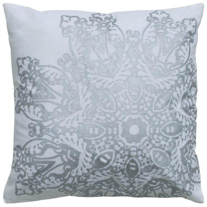 Medallion Foil Print White/Silver Filled Pillow