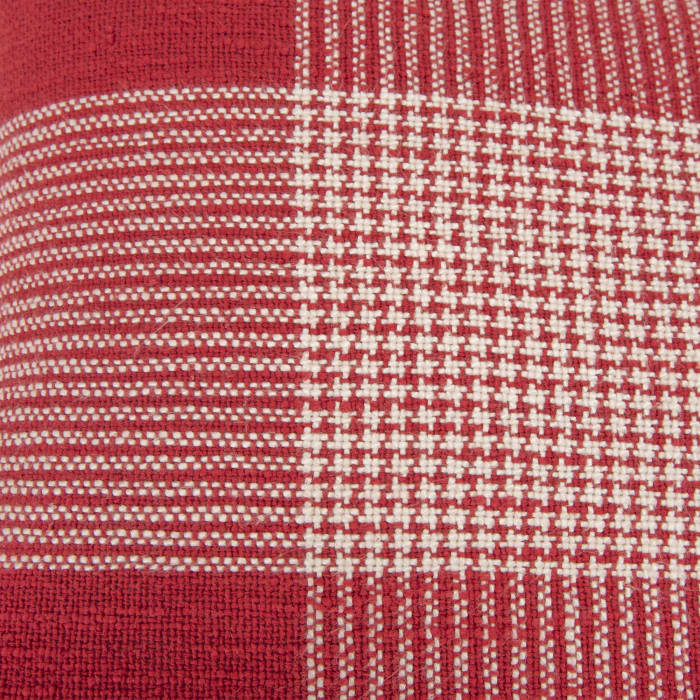 Plaid Woven Red/White Filled Pillow