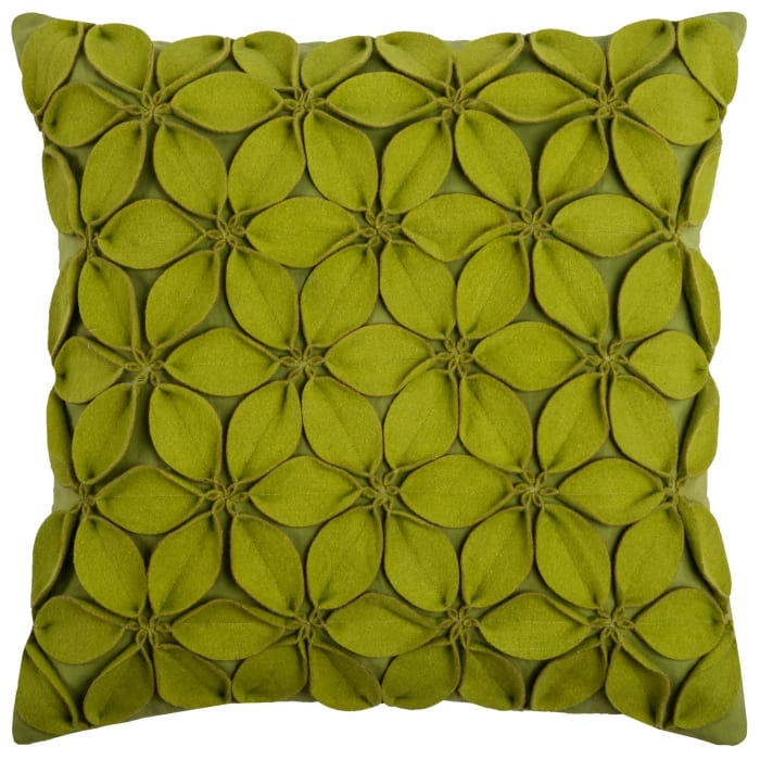 Solid Botanical Petals Cotton Lime Green Poly Filled Pillow