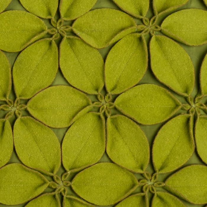 Solid Botanical Petals Cotton Lime Green Pillow Cover