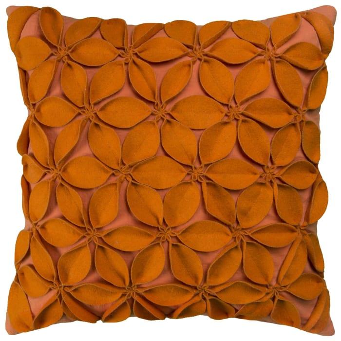 Solid Botanical Petals Cotton Orange Poly Filled Pillow