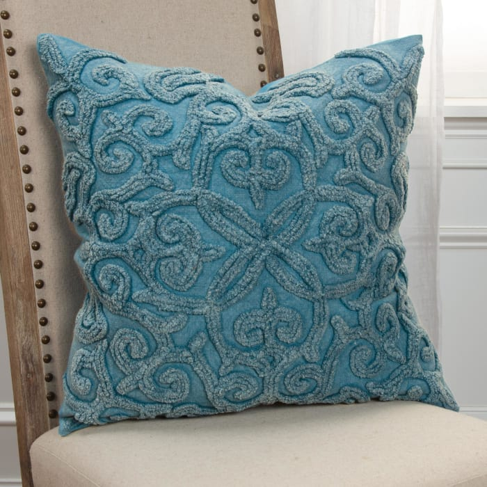 Solid Channel Embroidery Cotton Light Blue Pillow Cover