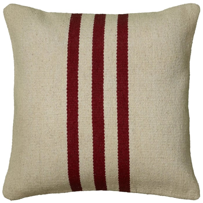 Stripe Cotton Beige Red Pillow Cover