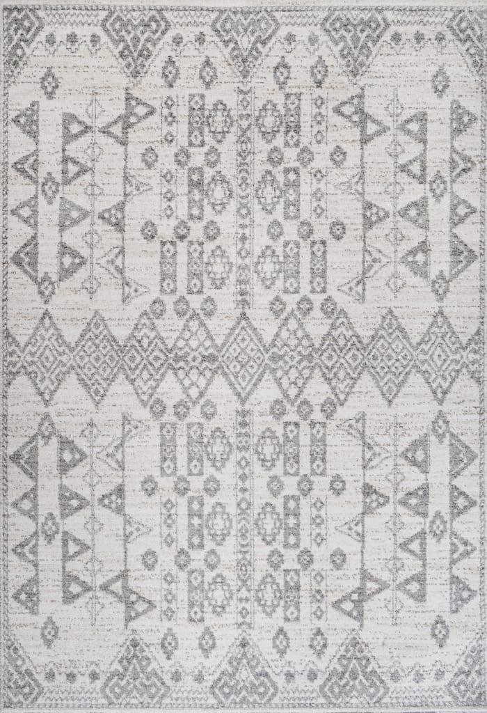 Tribal Diamond Geometric Gray/Beige 3' x 5' Area Rug