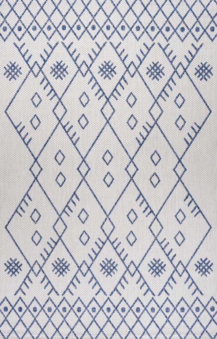 Moroccan Outdoor Ivory/Navy 3' x 5' Rectangular Area Rug