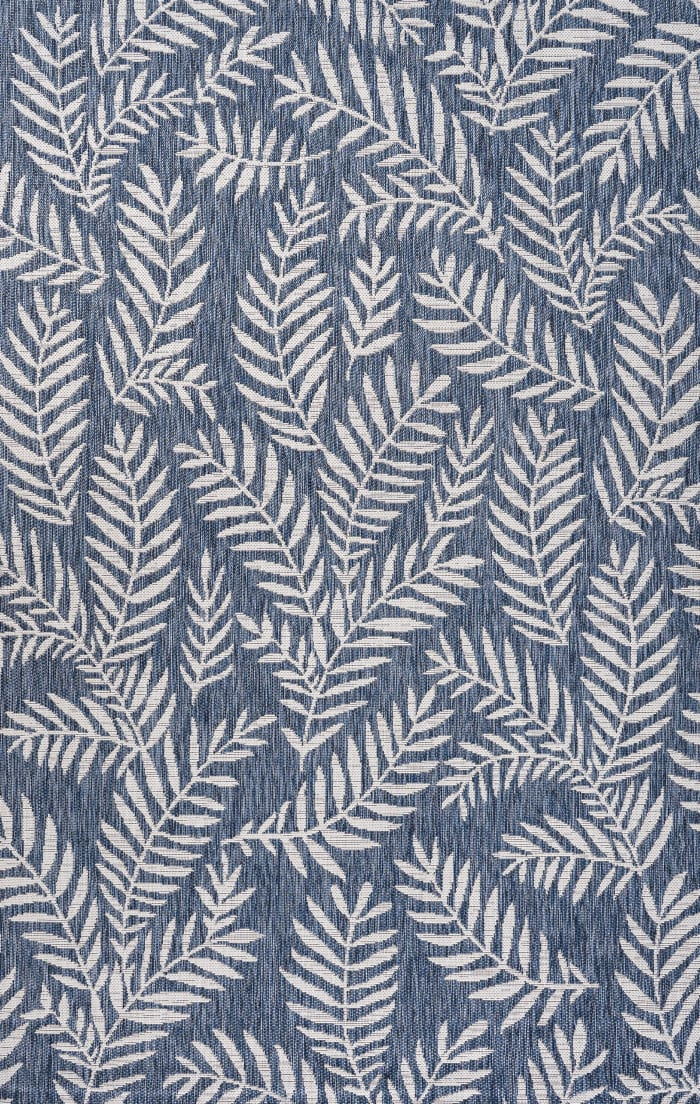 Nevis Palm Frond Navy/Ivory 5' x 8' Outdoor  Area Rug