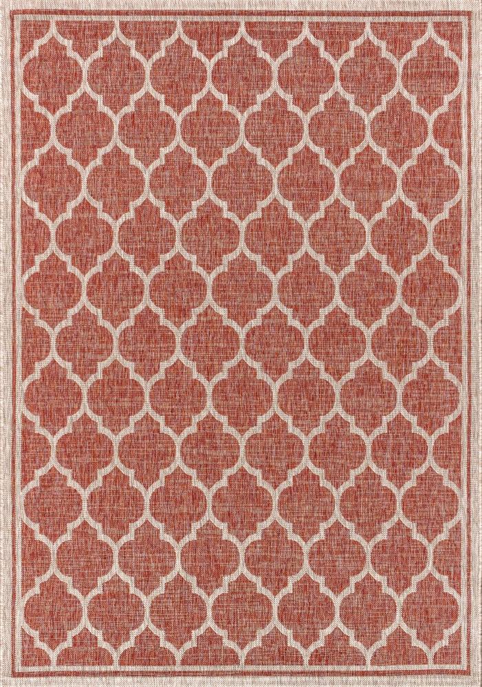 Trebol Moroccan Trellis Textured Weave Red/Beige Outdoor  Area Rug