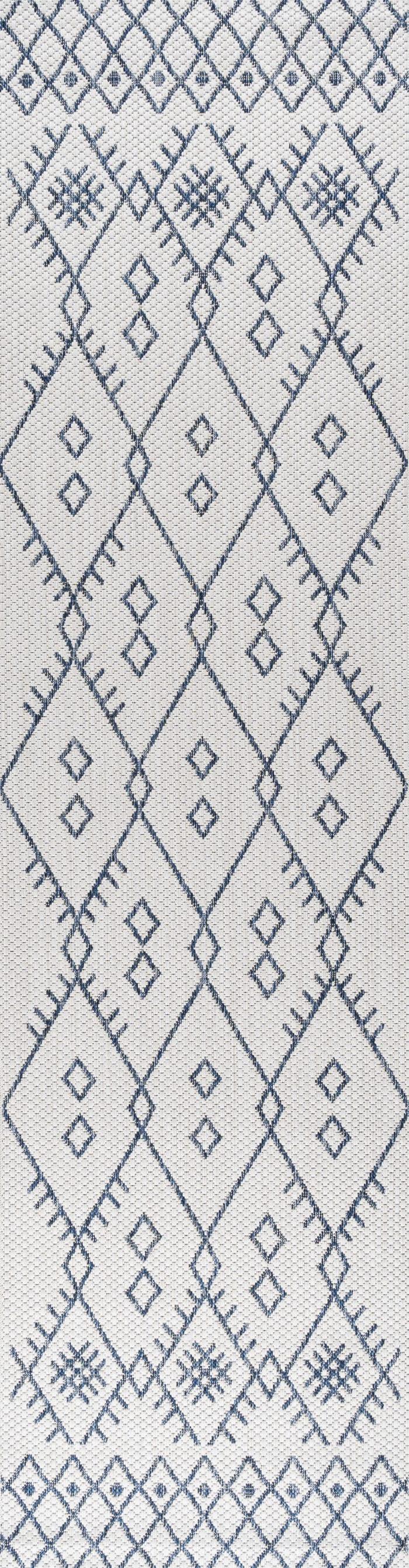 Moroccan Outdoor Ivory/Navy 2.25' x 8' Rectangular Runner Rug