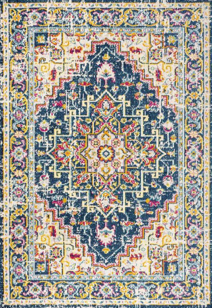 Geometric Medallion Blue/Beige 3' x 5' Rectangular Area Rug