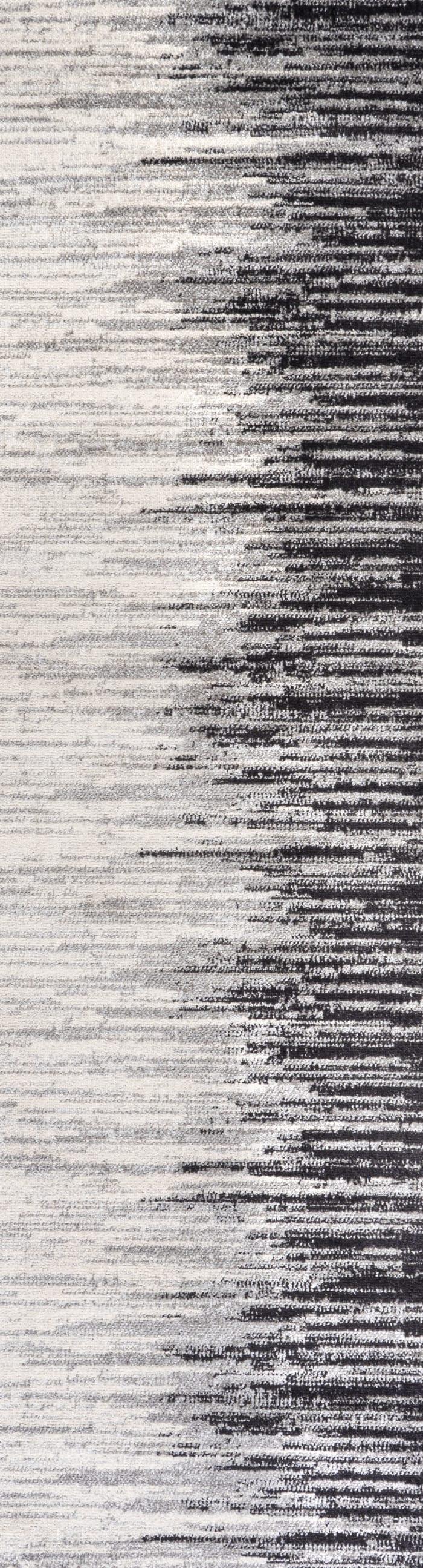 Modern Half-Stripe Gray/Cream 2.25' x 8'  Rectangular Runner Rug
