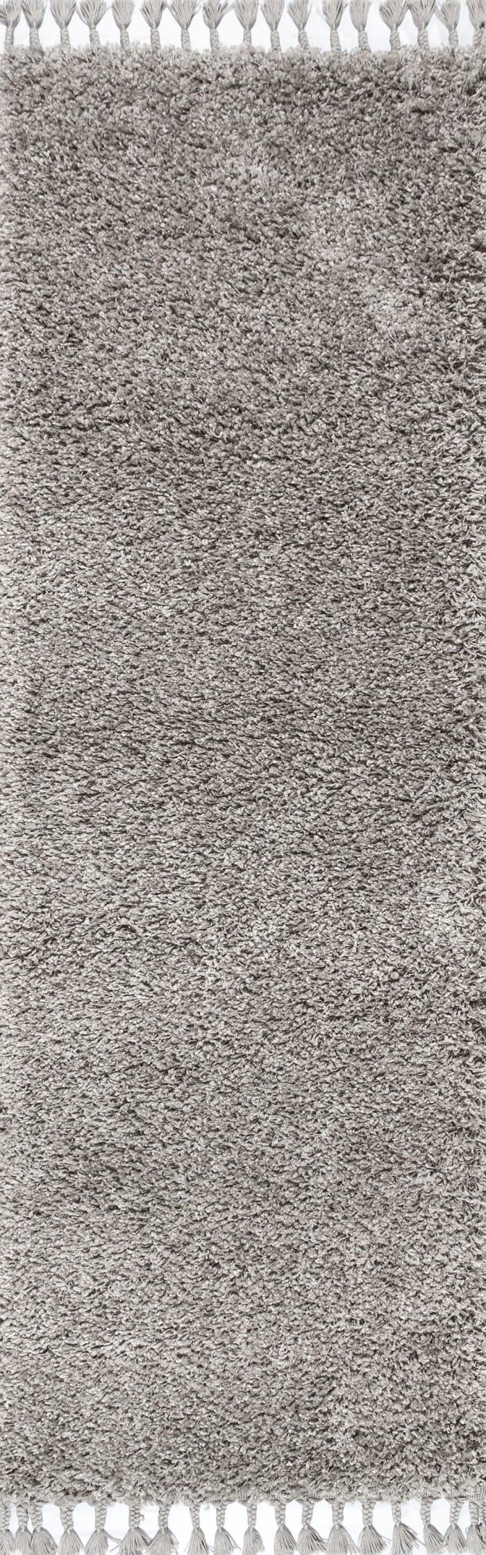 Shag Plush Tassel Grey 2.25' x 8' Runner Rug