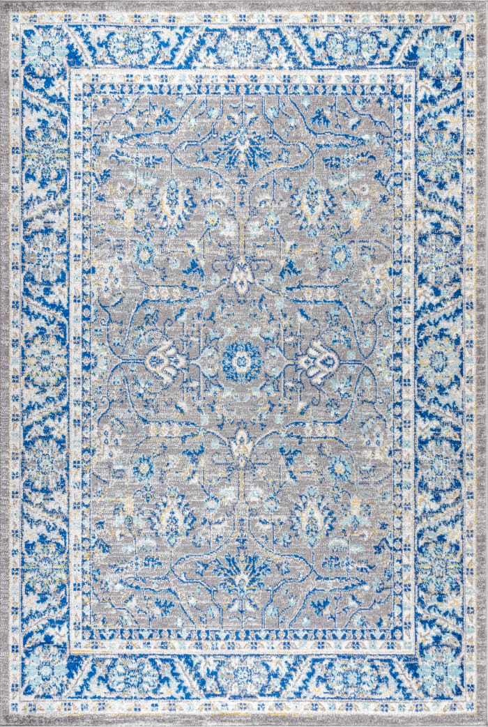 Modern Persian Boho Floral Gray/Navy 3' x 5' Area Rug
