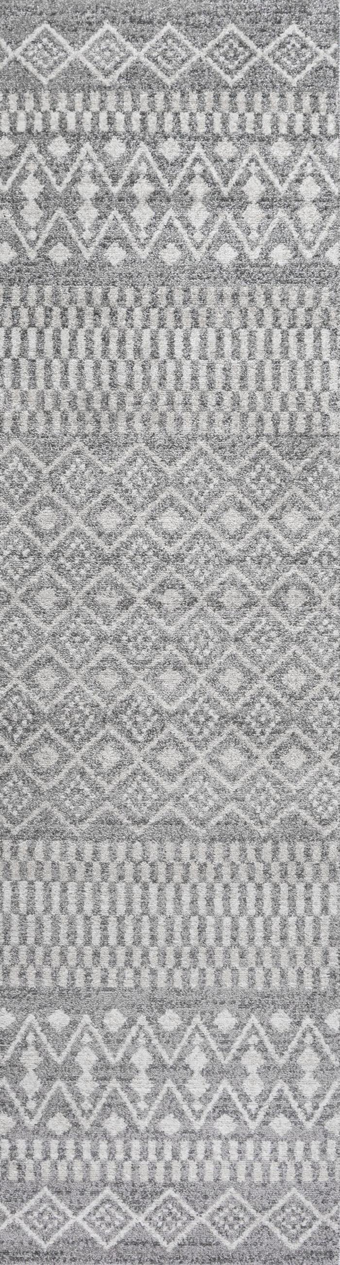 Berber Geometric Stripe Gray/Cream 2' x 8' Runner Rug