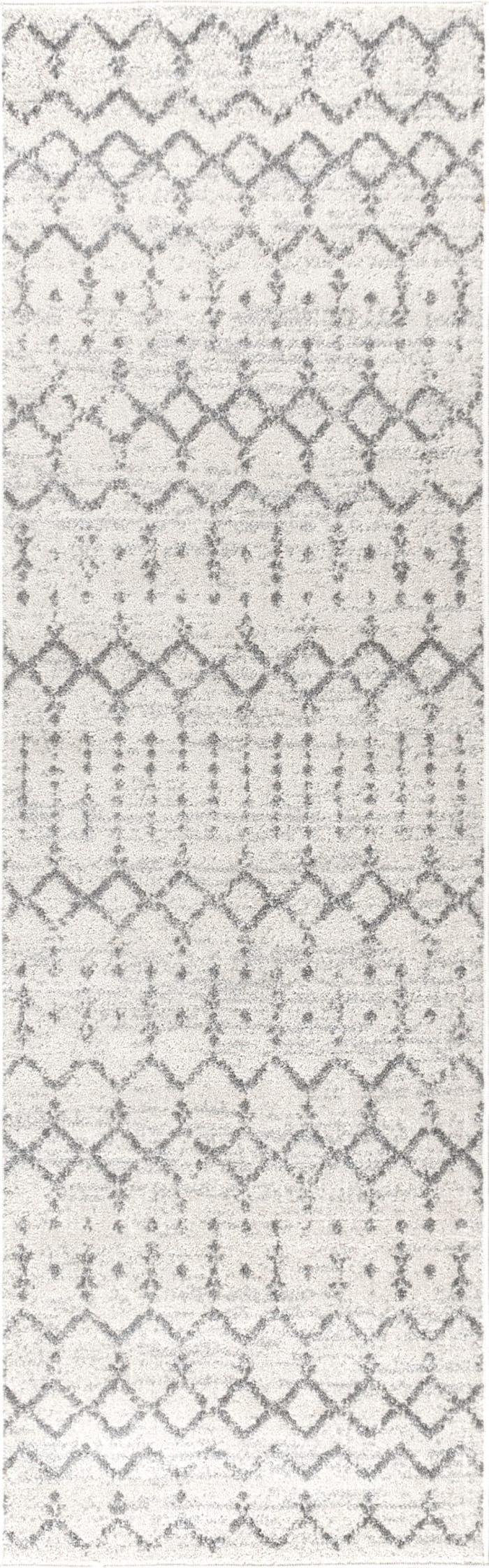 Moroccan HYPE Boho Vintage Diamond Cream/Gray 2.25' x 8' Runner Rug