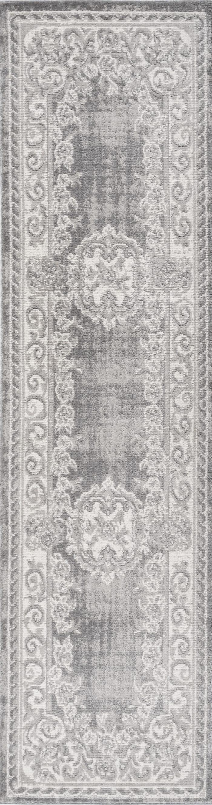 Cottage Medallion Ivory/Gray  2' x 8' Runner Rug