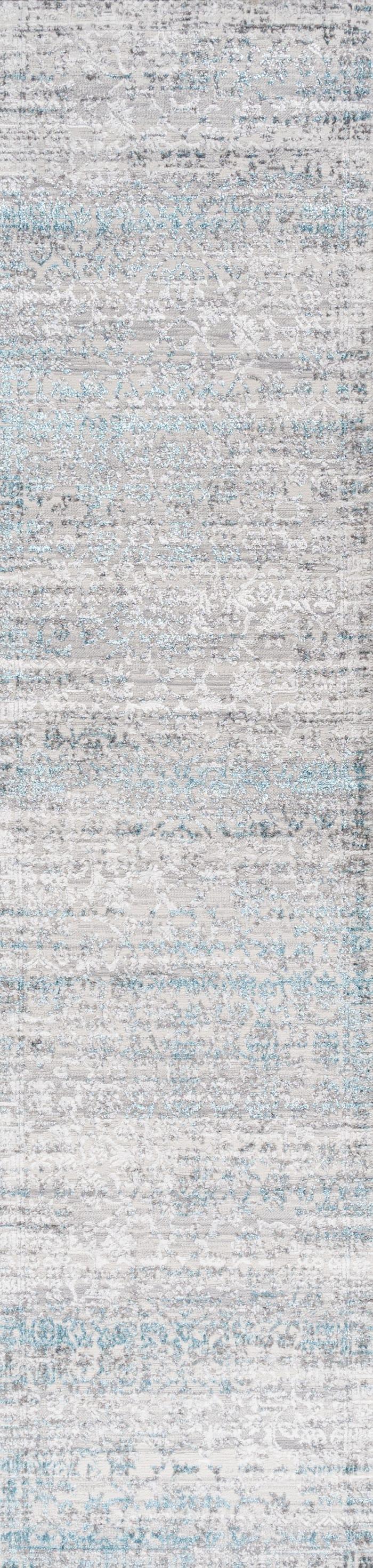 Tidal Modern Strie' Gray/Turquoise 2' x 8' Runner Rug