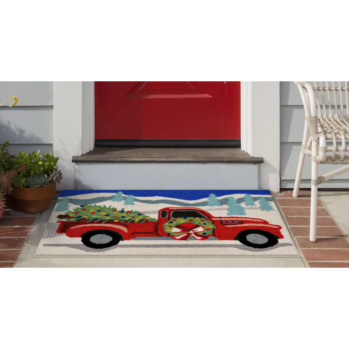 Truck and Tree  In/Out Rug Grey 2' x 3'