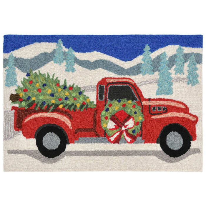 Truck and Tree  In/Out Rug Grey 30X48