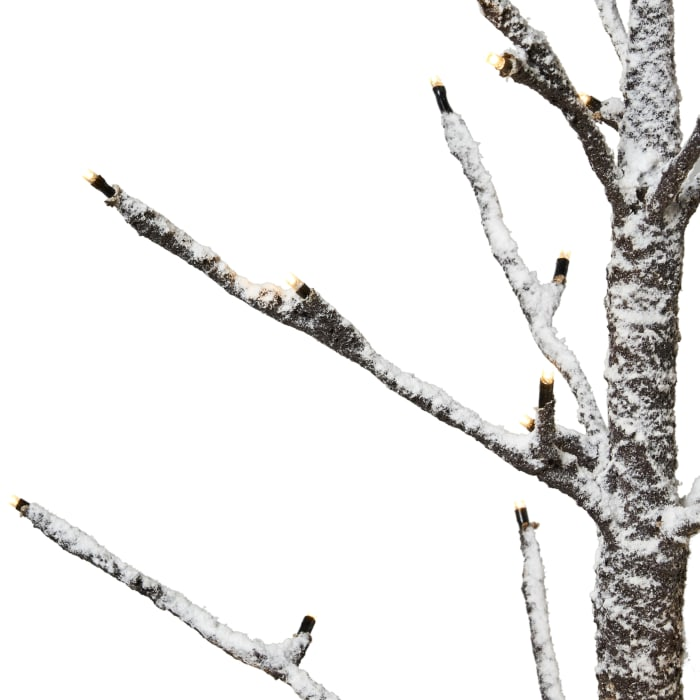 4-foot Pre-Lit 114 Warm White LED Artificial Christmas Twig Tree, Brown with Snow