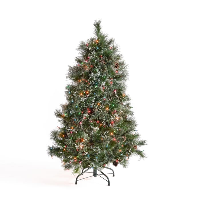 4.5-foot Cashmere Pine and Mixed Needles Pre-Lit Multi-Colored String Light Hinged Artificial Christmas Tree with Snowy Branches and Pinecones