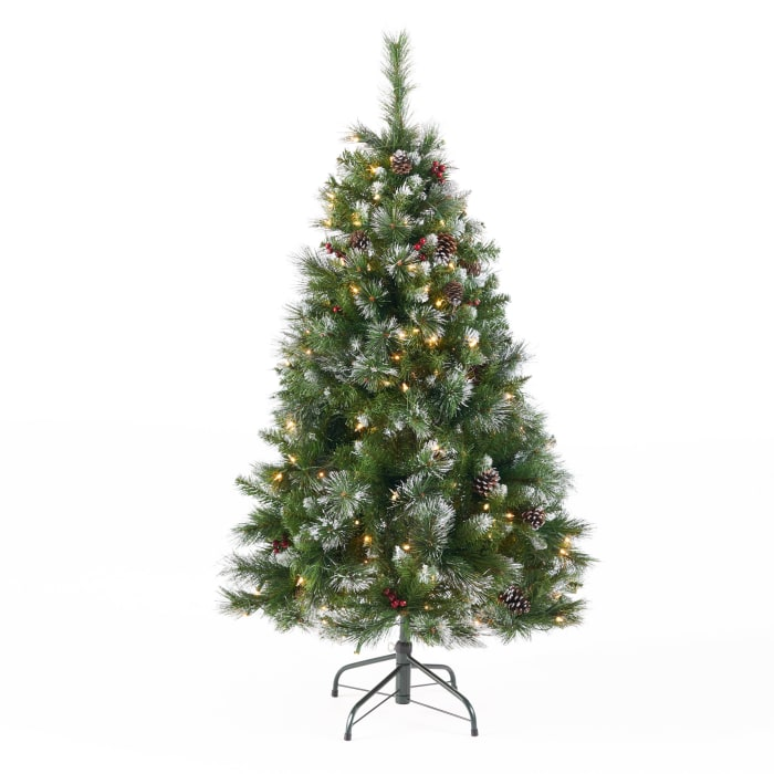 4.5-foot Mixed Spruce Pre-lit Clear String Light Hinged Artificial Christmas Tree with Glitter Branches, Red Berries, and Pinecones