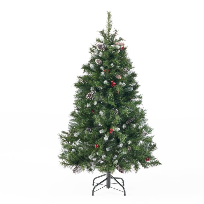 4.5-foot Mixed Spruce Unlit Hinged Artificial Christmas Tree with Frosted Branches, Red Berries, and Frosted Pinecones