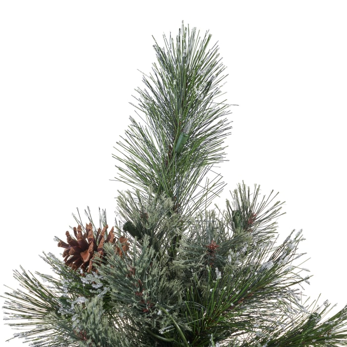 7-foot Cashmere Pine and Mixed Needles Pre-Lit Clear String Light Hinged Artificial Christmas Tree with Snowy Branches and Pinecones