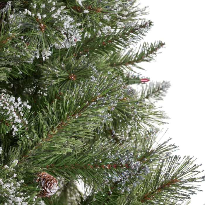 7-foot Cashmere Pine and Mixed Needles Pre-Lit Multi-Color String Light Hinged Artificial Christmas Tree with Snow and Glitter Branches and Frosted Pinecones