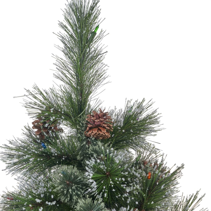 7-foot Cashmere Pine and Mixed Needles Pre-Lit Multi-Colored String Light Hinged Artificial Christmas Tree with Snowy Branches and Pinecones