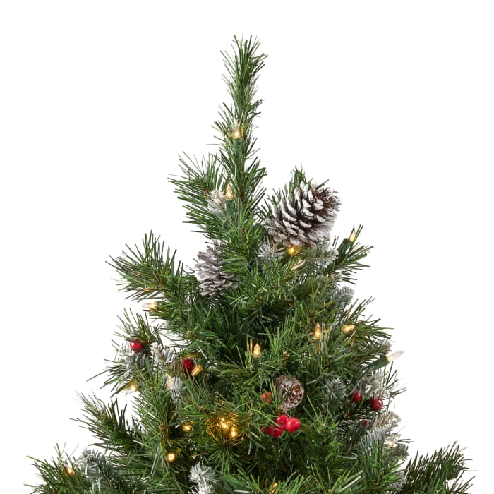 7-foot Mixed Spruce Pre-Lit Clear LED Hinged Artificial Christmas Tree with Frosted Branches, Red Berries, and Frosted Pinecones