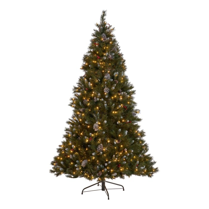 7-foot Mixed Spruce Pre-Lit Clear String Light Hinged Artificial Christmas Tree with Frosted Branches, Red Berries, and Frosted Pinecones